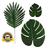 36 Pcs 3 Kinds Artificial Palm Leaves Tropical Plant Faux Leaves Safari Leaves Hawaiian Luau Party Suppliers Decorations,Tiki Aloha Jungle Beach Birthday Table Leave Decorations