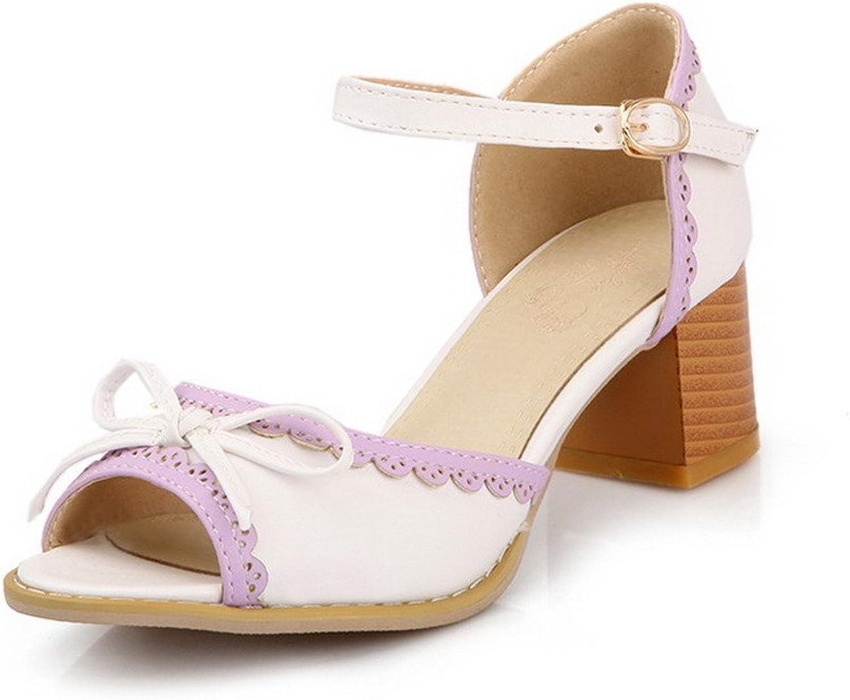 AllhqFashion Women's Buckle Open Toe Kitten Heels Assorted color Sandals