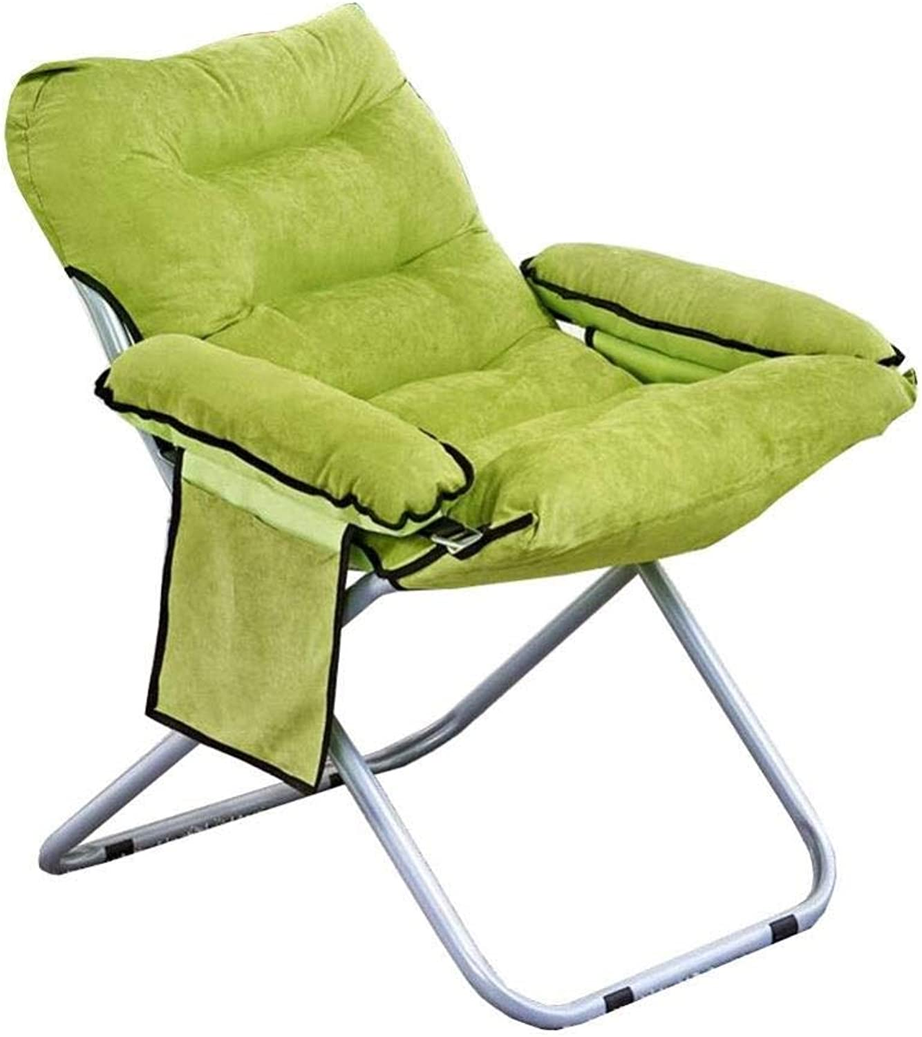 FENGFAN Folding Chair Round Steel Frame Moon Chair Comfortable Portable Lounge Chair 56x76x82cm (color   Green)