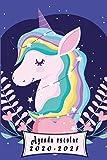 Agenda escolar 2020-2021: Agenda unicornio ,para estudiantes ,Planificadora diaria y mensual,calendario 2020+2021 , 2 días por página , primaria Colegio secundaria