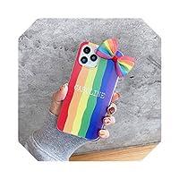 かわいいレインボー3DボウノットケースFor iPhone12MINI 12 11 Pro Max XR XSMaxケース透明カバーFor iPhoneSE 2 2020 7 8Plusケース-2-For iPhone 8