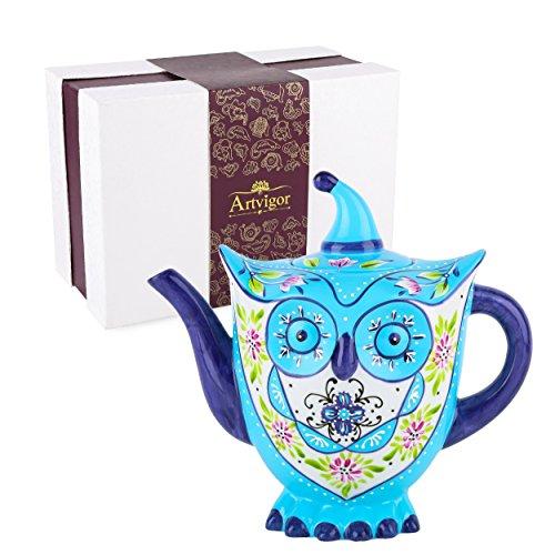 Artvigor 800ML Théière en Porcelaine Service à Thé Café Forme Éléphant Peint à la Main Original Paquet Cadeau Fête Couleur Bleu Design Exotique Chic