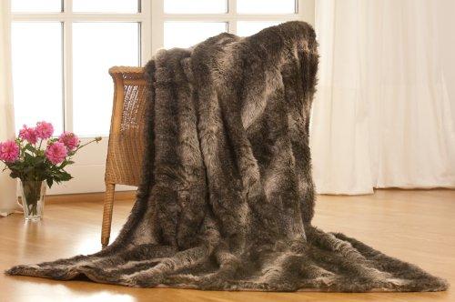 BonMercato Luxus Überwurfdecke Kuscheldecke Felldecke Steppenwolf 1tlg. 150 * 200cm