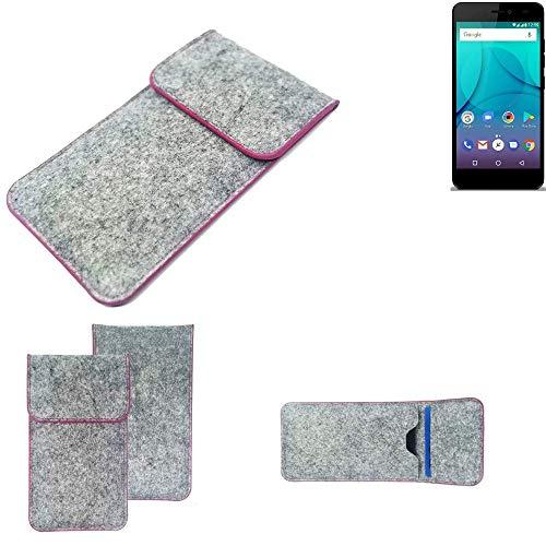 K-S-Trade Handy Schutz Hülle Für Allview P7 Lite Schutzhülle Handyhülle Filztasche Pouch Tasche Hülle Sleeve Filzhülle Hellgrau Pinker Rand