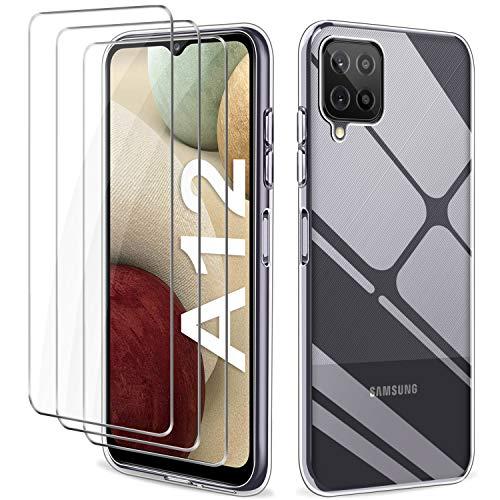YNMEacc Cover Compatibile con Samsung Galaxy A12 / Samsung Galaxy M12 con 3 Pezzi Pellicola Vetro Temperato, Custodia Ultra Trasparente Silicone Morbida TPU Antiurto Smartphone Case