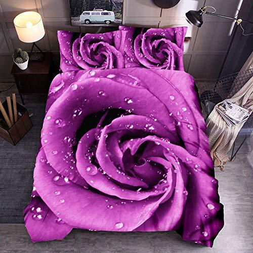 Obrand Juego de Funda de Edredón para Cama con 2 Fundas de Almohada,Juegos de Cama de Microfibra cepillada Ultra Suave 3D Rose Flower-Violeta