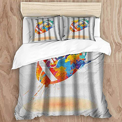 YnimioHOB Duvet Cover Set,Rugby Ball with Rainbow Brush Effects Filled Covered with Colors Sports Sign,Decorative 3 Piece Bedding Set with 2 Pillow Shams