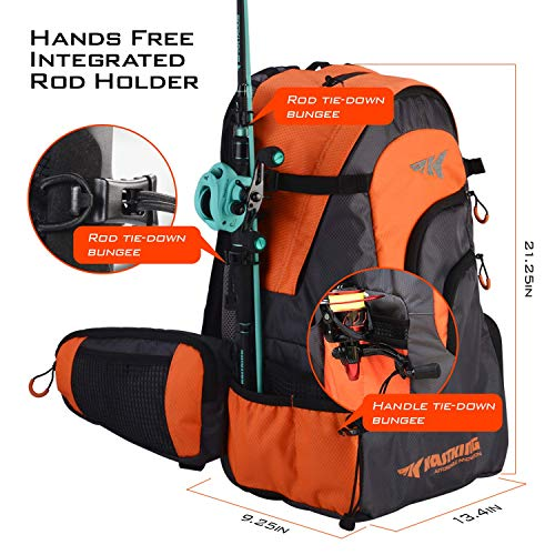 KastKing Day Tripper Fishing Backpack Tackle Bags, Fishing Gear Bag, Large Waterproof Fishing Tackle Storage Bags, Orange, Extra-Large(21.25x13.4x9.25 Inches, Without Box)