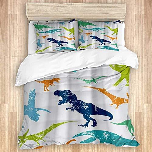 3 Stück Bettbezug, Bunte Kinder Cartoon Jurassic Kinder Dino Themed, hochwertige Bettwäsche-Set mit 1 Quit Cover und 2 Kissenbezügen Verschiedene Stilfarben