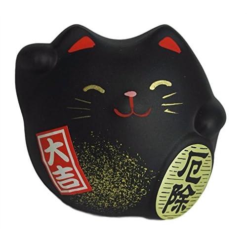 TouanTouan Chat Japonais Maneki Neko 100% Made in Japan/Différents Coloris pour différentes Symboliques (Noir)