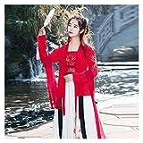 YUNGYE Disfraz antiguo para mujer mejorado, estilo chino, tradicional fresco y elegante, Super Fairy Daily Wear Tang Dynasty (color: rojo, tamaño: S)