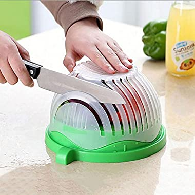 1 Step Kitchen Award Winning Salad Cutter Bowl - New Salad maker. Vegetable chopper, BPA FREE, Dishwasher Safe, Cutter for Lettuce or Salad chopper for Salad in 60 Seconds by