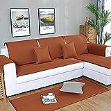 YUTJK Chaiselongue-Sofa Bezug,Coole Sommermatten-Sofabezug mit Rutschfester Rückseite,faltbarem waschbarem Sofapad,Rückenlehne und Armlehnen-Sofakissen-Braun_90×240cm