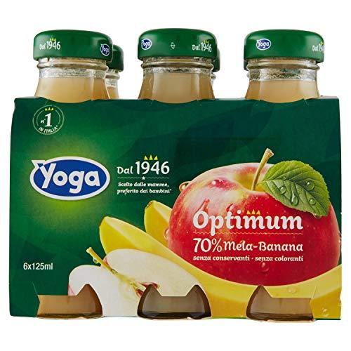Yoga - Bevanda analcolica, a base di mela e banana, con Vitamina C, senza glutine -  6 bottiglie da 125 ml