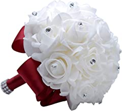 MOJUN Wedding Bouquets Crystal PE Roses Bridal Bridesmaid Wedding Hand Holding Bouquet Artificial Fake Flowers Toss Bouquet, Burgundy