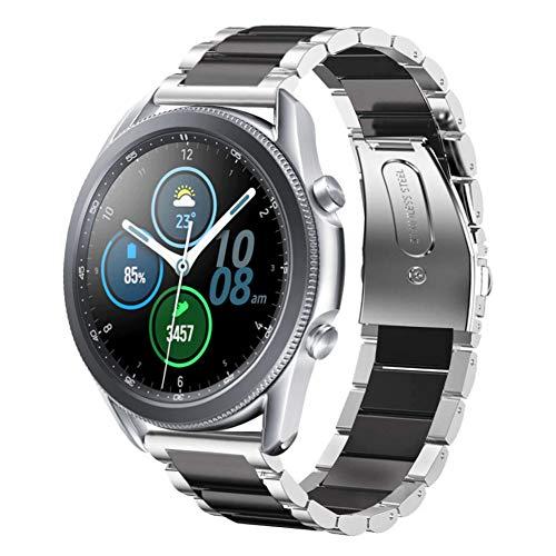 SUNDAREE Compatible con Correa Galaxy Watch 3 45MM,22MM Metal Acero Inoxidable Reemplazo Band Pulsera Repuesto Correa para Samsung Galaxy Watch 3 45MM SM-R840/Huawei Watch GT 2 46MM(45 Black+Silver)