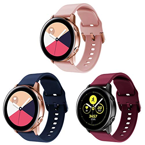 Onedream Correa Compatible con Samsung Galaxy Watch Active/Active 2 44mm 40mm Pulsera Silicona Mujer Hombre, Repuesto Compatible con Samsung Galaxy Watch 42mm/ Galaxy Watch 3 41mm, 3 Colores