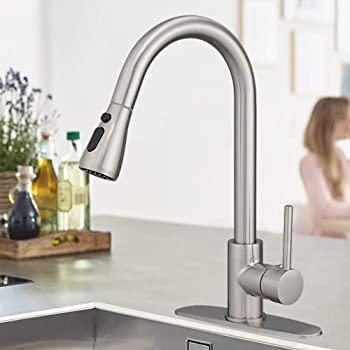 Single Handle Kitchen Sink Faucet Pull Out Spray Brushed Nickel With Cover Brass