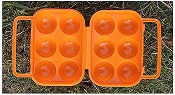 CFtrum Portable Porte-Oeufs/Boîte à Oeufs en Plastique pour Camping et Pique-Nique (6 Grilles, Couleur Orange)