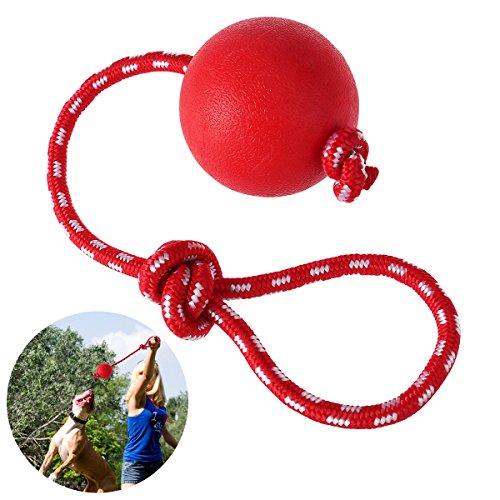 UEETEK Bola de Juguete Masticar Goma de Mascota con la Cuerda, Perro Lanzador de Bola Interactiva para Mascotas Jugando Ejercicio de Entrenamiento, Bola de Diámetro 7.5cm