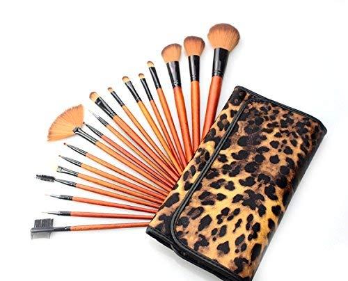 Brosse de maquillage Set 18pcs pinceau de maquillage professionnel avec sac luxueux à imprimé léopard Cosmétiques Set Brosses