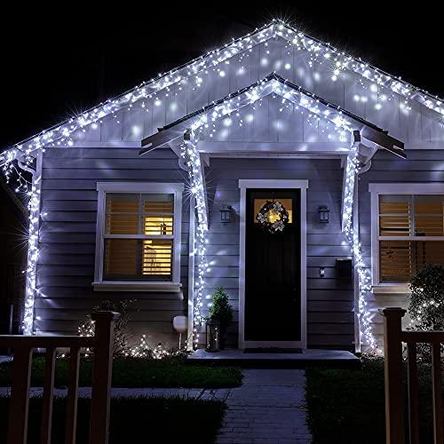 LED Lichterkette Außen, LIGHTNUM 9M 240 LED Kaltweiße Lichterkette mit Stecker, IP44 Wasserdicht,8 Modi, Eisregen Lichterkette Aussen für Zimmer, Traufe, Treppe, Geländer, Weihnachten, Party Deko
