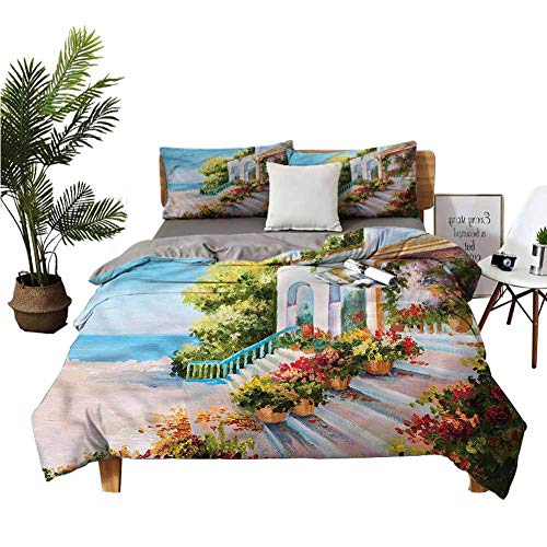 DRAGON VINES Four piece set of single Sea View Porch Old House Winter Bed Sheets Green pink quilt cover W104 xL90