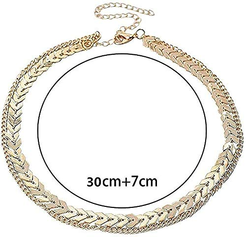 huangxuanchen co.,ltd Necklace Necklace Women Gold Color Metal Two Layers Choker Necklaces Herringbone Chain Simple Gift Necklace for Women Men