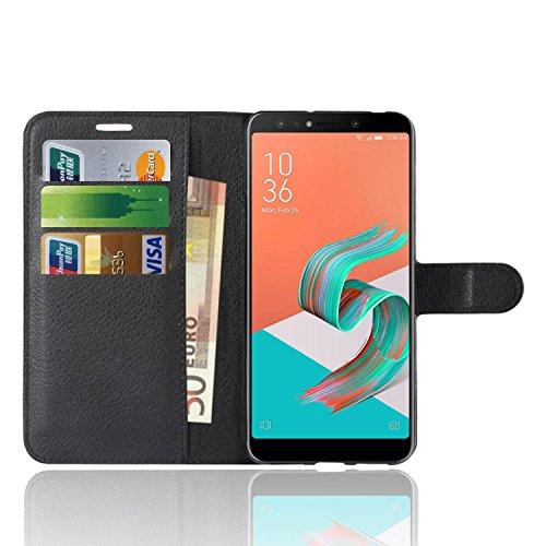 Asus Zenfone 5 Lite ZC600KL Custodia, Anzhao Flip Cover Portafoglio con Slot per Schede Protettiva Custodia in Pelle per Asus Zenfone 5 Lite ZC600KL (Nero)
