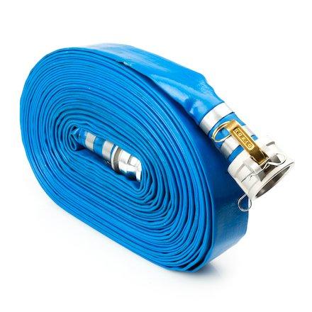 Pump Water Hose - Blue PVC Drain Backwash Discharge Hose - Camlock Fittings 1 1/2