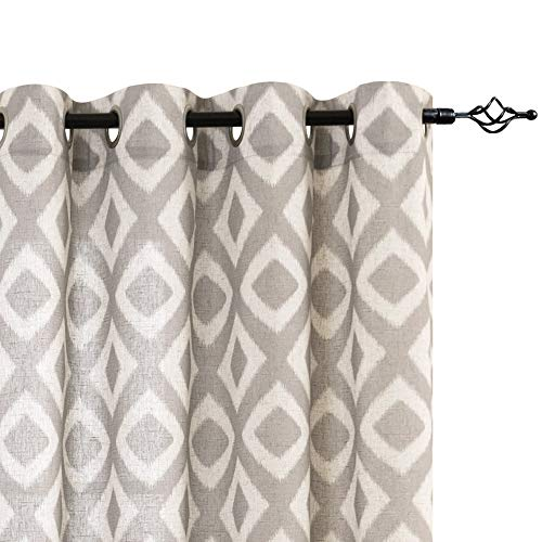 jinchan Linen Curtains for Living Room Geometric Ogee Patterns Design Grommet Top Light Filtering Window Treatment Set 2 Panels 84 inches Long Grey on Beige