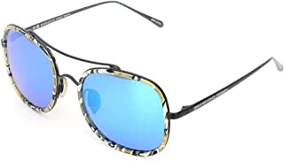 Fashion Sunglasses Yellow Blue Polarized Color Film Retro (Color : Blue)