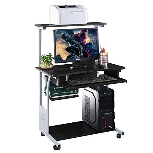 COSTWAY Computertisch Schreibtisch PC-Tisch Computerschreibtisch Bürotisch Laptoptisch Arbeitstisch aus Holz mit Rollen und Tastaturauszug, für Home Office, Schwarz 80 x 56 x 127cm