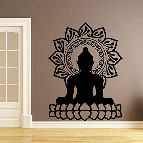 LSMYE Kreative Buddha Mandala Lotus selbstklebende Wandaufkleber Vinyl wasserdichte Wandtattoos Home Decoration Wallpaper Weiß M 43cm X 56cm
