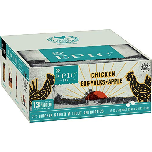 EPIC Chicken + Egg Yolk + Apple Protein Bars, Whole30, 12 Count Box 1.5oz bars