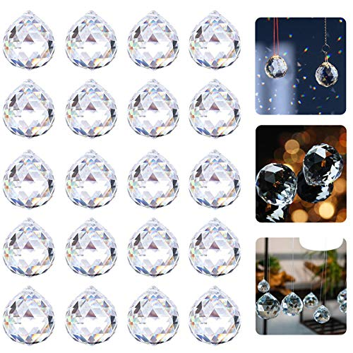 20 PCS 20mm Kristallglaskugel,Regenbogenkristall Kristallkugeln Schmuck,Aufhängen Anhänger für Fesnter Prisma Deko,Kristall Glas Prisma,Bunte Kristall Regenbogen,Kristalle zum Aufhängen Kronleuchte