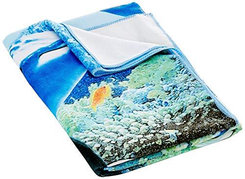 Fratelli Pesce 5057 strandhanddoek, microvezel, met tropische vissen, 140 x 70 cm