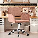 Chaise de Bureau Fauteuil Bureau Ergonomique Bacyion Pivotant Chaise à roulettes Tabouret de Bureau et Réglable en Hauteur Chaise de Chambre Confortable en Tissu Vert (Rose)