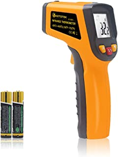 KETOTEK Infrarot Thermometer Laser Digital IR Lebensmittel Berührungslos Thermometer Pistole  50 400 ℃( 58 752°F) Thermometer Lebensmittel Berufsgrad Temperaturprüfgerät (Gelb)