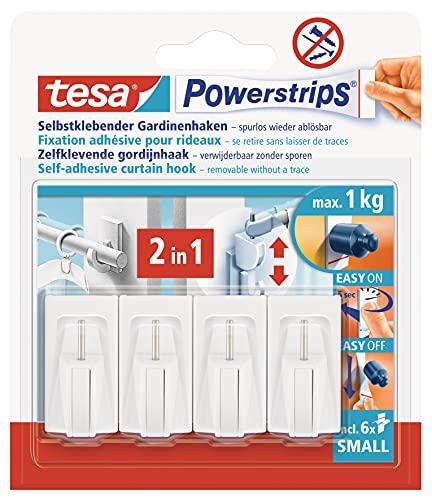 tesa Powerstrips Vario-Vorhängehaken / Selbstklebende Vorhängehaken von tesa - wieder ablösbar & mehrfach verwendbar / Bis 1 kg Belastung / 1 x 4 Stück / Weiß