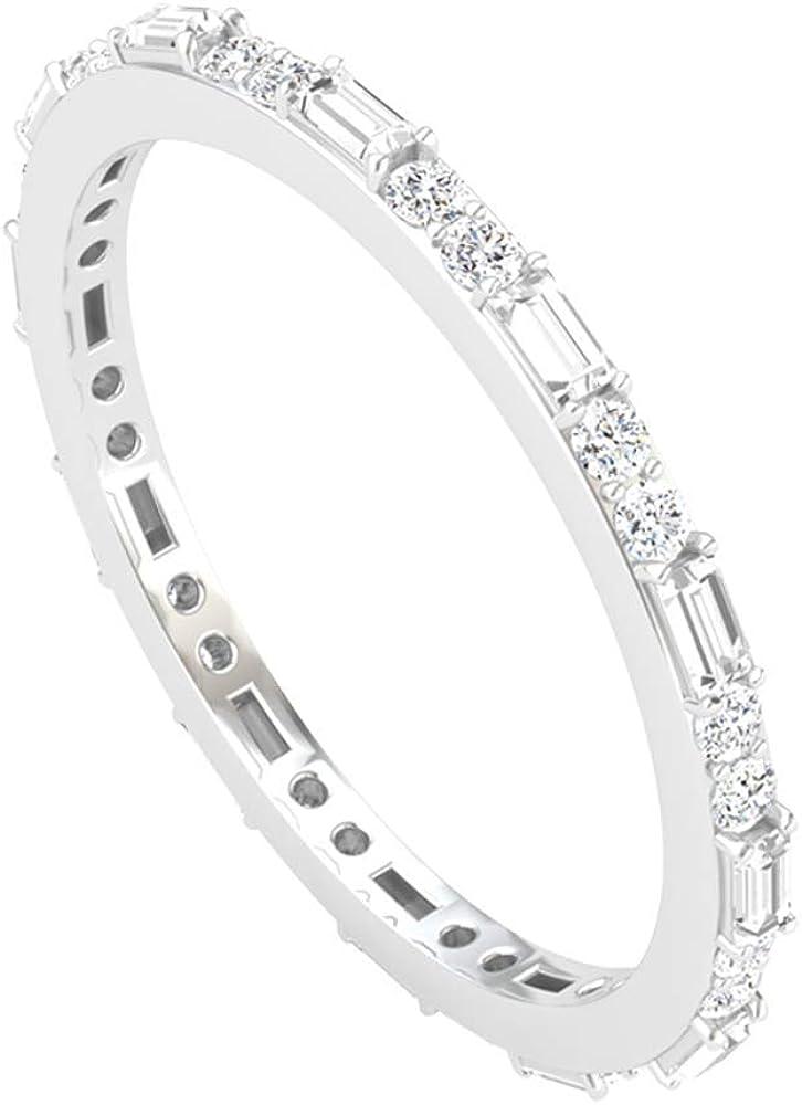 Alternating Full Eternity Ring, Round Baguette Diamond Wedding Ring, IGI Certified Diamond Anniversary Ring, Unique Valentine Gifts for Her, Valentine Day Gift, 14K White Gold,Size:US 9.5