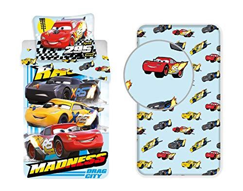 LesAccessoires Disney Cars - Juego de funda nórdica y funda de almohada (140 x 200 cm, funda de almohada y sábana bajera de 90 x 200 cm, 100% algodón)