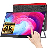 InnoView Portable Monitor 4K Touchscreen - 14 Inch Auto-Rotating Freesync Touch Screen Monitor, Ultra-Slim Second Screen Frameless Bezel Glass Hd UHD IPS 3840x2160 Dual USB C Laptop Monitor.