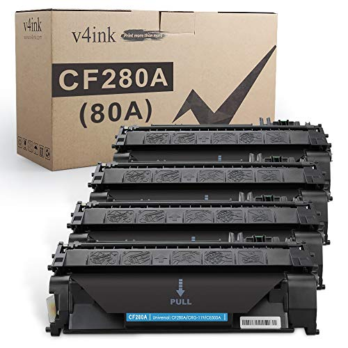 V4INK 4PK Compatible Toner Cartridge Replacement for HP 80A CF280A Toner Cartridge Black for use in HP Laserjet Pro 400 M401N M401DN M401DNE M401DW Printer, HP LJ Pro 400 MFP M425DN M425DW Printer