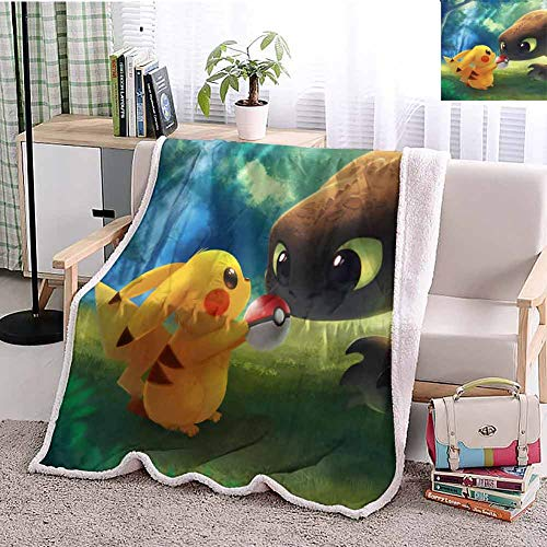 Yloveme Baby Small Fleece Blanket Throw Pikachu with Pokeball Toothless Double-Sided Super Soft Plush Blanket Throw 32x60 inches