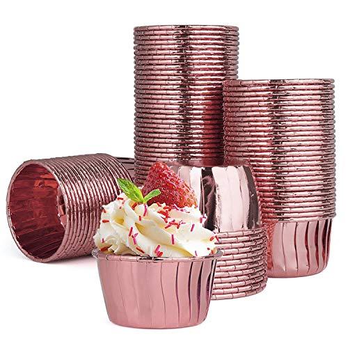Diealles Shine Pirottini da Forno Alluminio, 100 Pezzi Pirottini Carta per Tortine Muffin, Baking Cup Oro Rosa