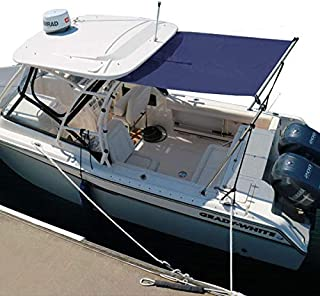 Oceansouth 7×7×5 FT Boat Stern Shade Kit Extension for T-Top & Cabin Boat with Stainless Steel Telescopic Poles
