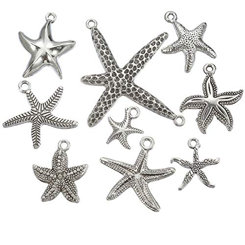 54pcs Mixed Style Antique Silver Plated Sea Animal Starfish Charms Ocean Charm Pendant Bracelets Necklace Jewelry Findings Jewelry Making Craft DIY (a-1094)