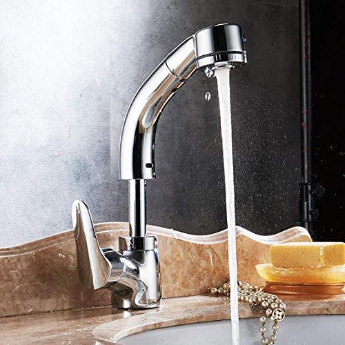 Volledige Koper Lichaam Liften Trek Basin wastafel Thermostatische warm en Koud Water Kraan Telescopische Roterende Shampoo Zilver Extension