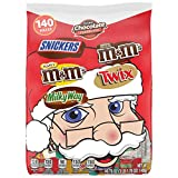 M&M'S, SNICKERS, TWIX and MILK WAY Fun Size and Minis Size Christmas Chocolate Candy Assortment, 49.70-ounce Bag, 140 Pieces